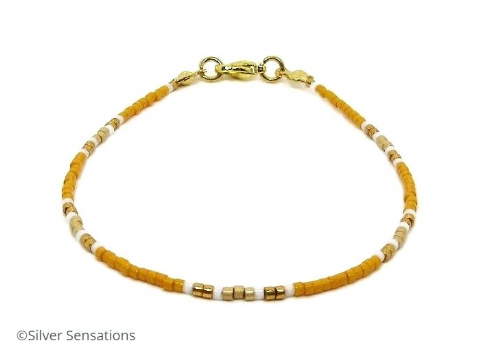 Orange, Gold & White Dainty  Seed Bead Stacking Bracelet